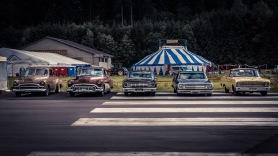 Hangar Rockin' 2018: Lukas' 1950 Chevy, Jimmy's 1952 Buick, Ronny's 1964 Mercury Comet, Brenner's 1964 El Camino, Marcel's 1964 Ranchero